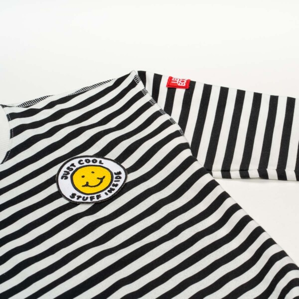 striped sweatshirt with smile
